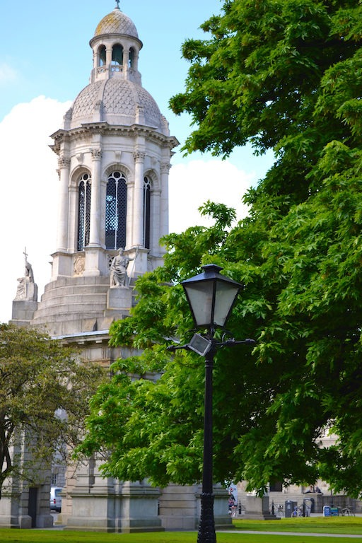 Tall college building steeple.